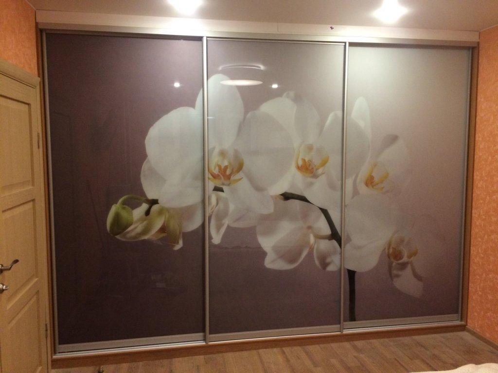 шкаф купе трехдверный с фотопечатью цветы орхидея в гостиную