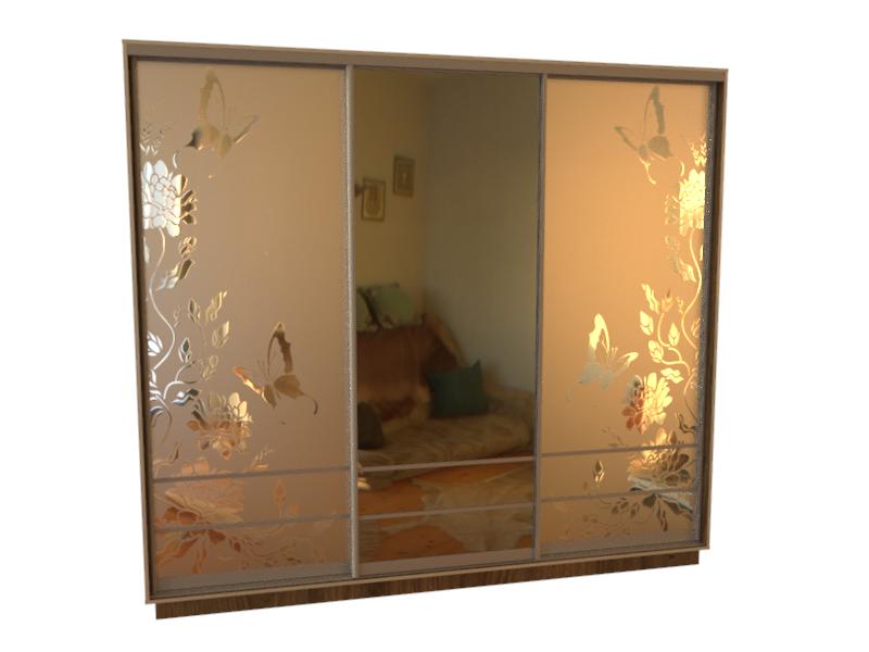 рисунок шкаф купе зеркало птицы фото сам исходный, лилово-розовым
