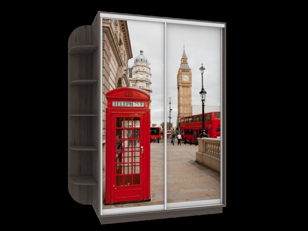 шкаф купе двухдверный с фотопечатью лондон в прихожую