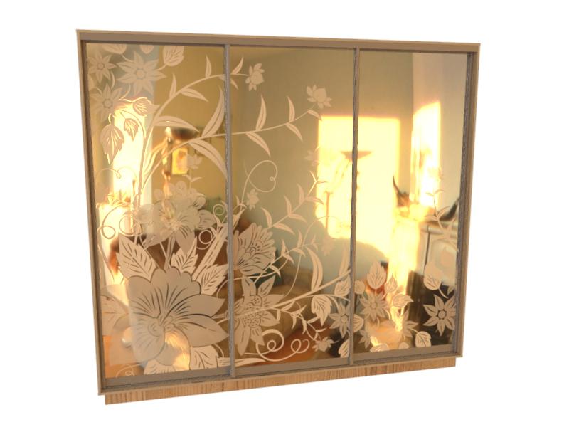 рисунок шкаф купе зеркало птицы фото горки